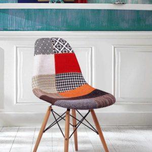 Sedia Edra in legno e metallo rivestita in tessuto Patchwork Teypat