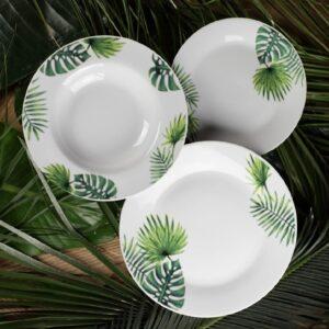 Set di Piatti da 19 Pz in Porcellana Aloe 1227