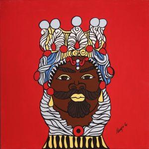 Quadro linea #IMori di Teypat - Testa di Moro uomo sfondo rosso