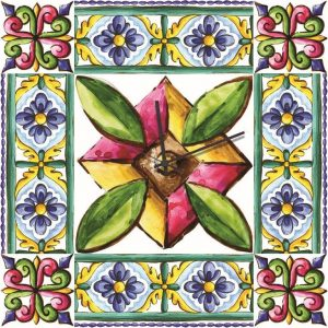 Stampa su Tela Orologio Ceramica Siciliana 10620 misure 50×50